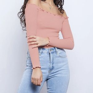 Abercrombie & Fitch Pink Long Sleeve Crop Top